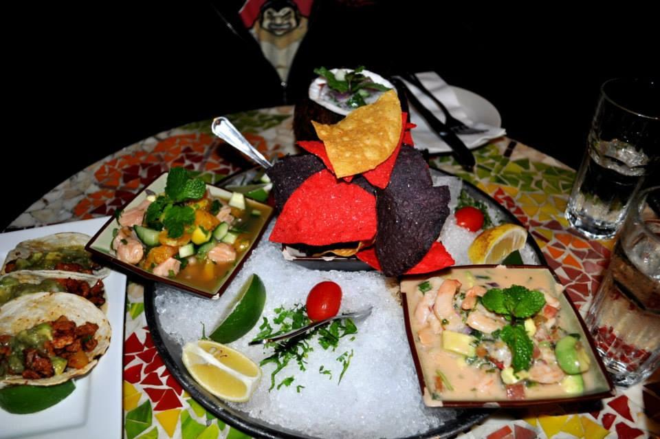Yuca ceviche platter