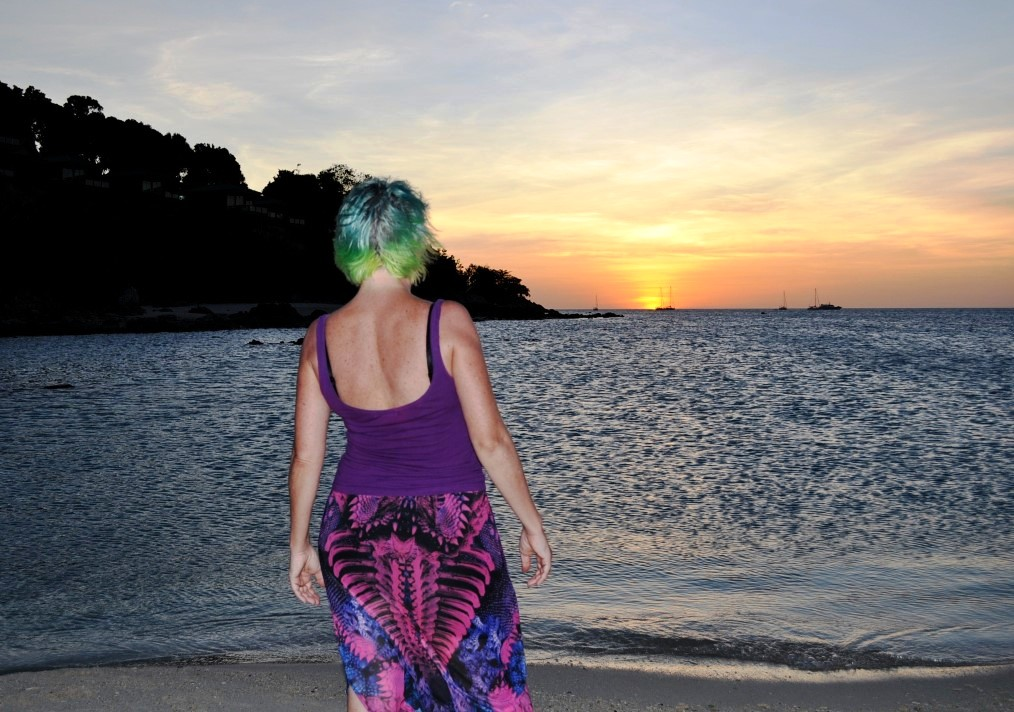 Leanne w sunset at Koh Lipe